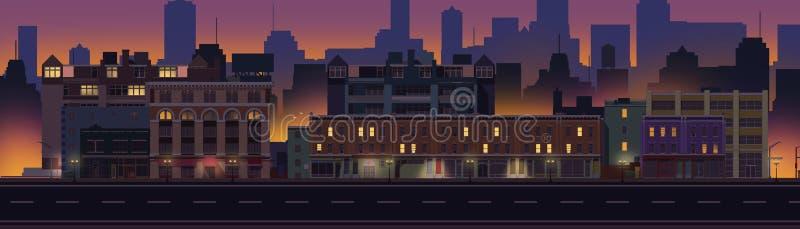 2D Obrazkowy blok mieszkalny przy nocą ilustracji