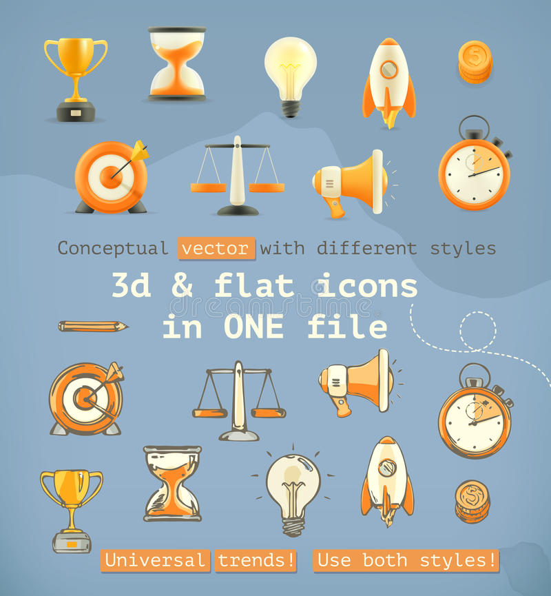 3d och fastställda symboler för lägenhet vektor illustrationer