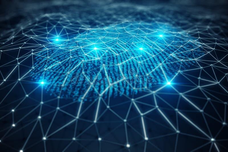 3D odcisku palca ilustracyjny obraz cyfrowy zapewnia ochrona dostęp z biometrics identyfikacją Pojęcie odcisku palca ochrona obraz royalty free