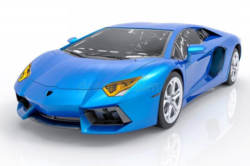 3D Odosobniony Błękitny sportowy samochód ilustracji