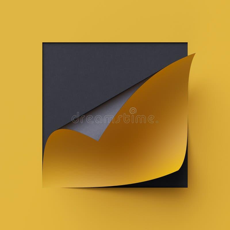 3d odpłacają się żółtego nutowego papier Pusty sztandar, strona kędzior, cień, projekta element Żółty i czarny kreatywnie tło ilustracji