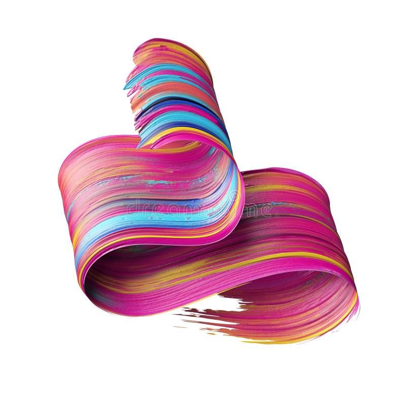 3d odpłacają się, abstrakcjonistyczny artystyczny szczotkarski uderzenie, artystyczny element odizolowywający na bielu, farby plu ilustracji
