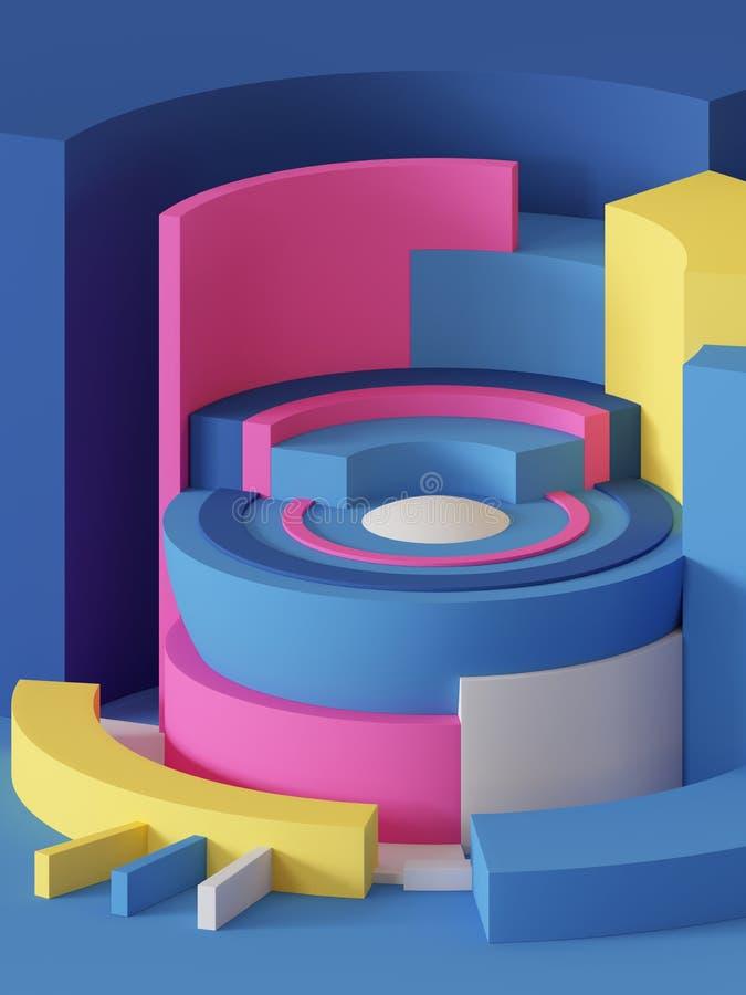 3d odpłacają się, abstrakcjonistyczny geometryczny tło, praforma kształty, butle, sektor, jaskrawi kolorowi bloki ilustracja wektor