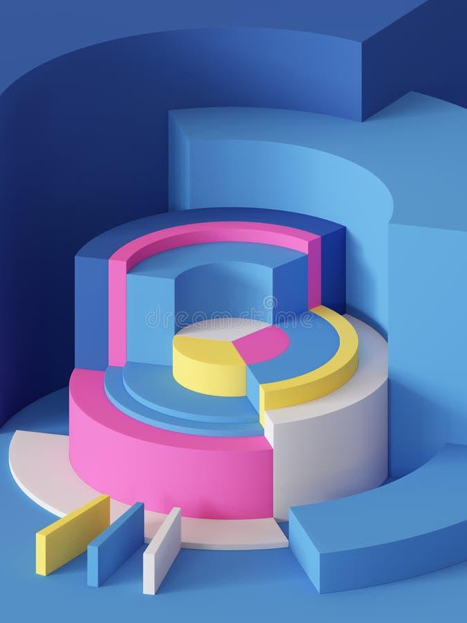 3d odpłacają się, abstrakcjonistyczny geometryczny tło, praforma kształty, butle, sektor, kolorowi bloki ilustracja wektor