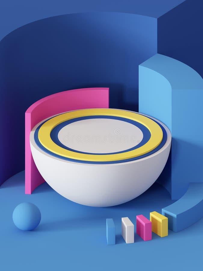3d odpłacają się, abstrakcjonistyczny geometryczny tło, praforma kształty, zabawki, hemisfera, piłka, sektor, jaskrawi kolorowi b ilustracji
