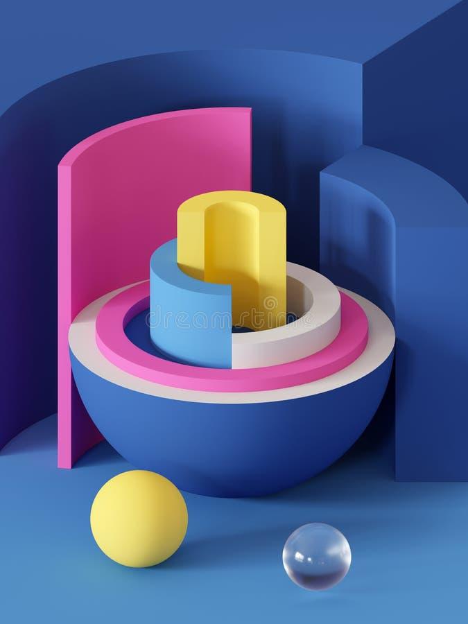 3d odpłacają się, abstrakcjonistyczny geometryczny tło, praforma kształty, zabawki, hemisfera, sektor, jaskrawi kolorowi bloki ilustracja wektor