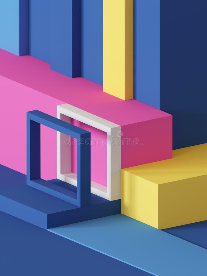 3d odpłacają się, abstrakcjonistyczny geometryczny tło, praforma kształty, zabawki, sześcian, kolorowi prostokątni bloki ilustracji