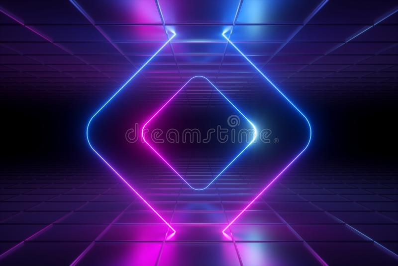 3d odpłacają się, abstrakcjonistyczny pozafioletowy tło, neonowy światło, zaokrąglająca kwadrat rama, jarzy się linie, tunel, kor royalty ilustracja