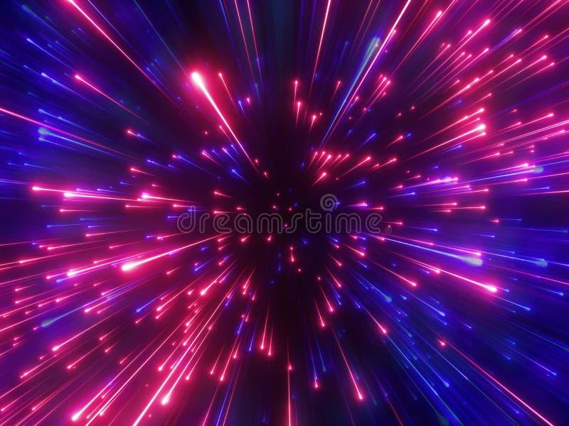 3d odpłacają się, czerwoni błękitni fajerwerki, duży uderzenie, galaxy, abstrakcjonistyczny pozaziemski tło, niebiański, piękno w royalty ilustracja