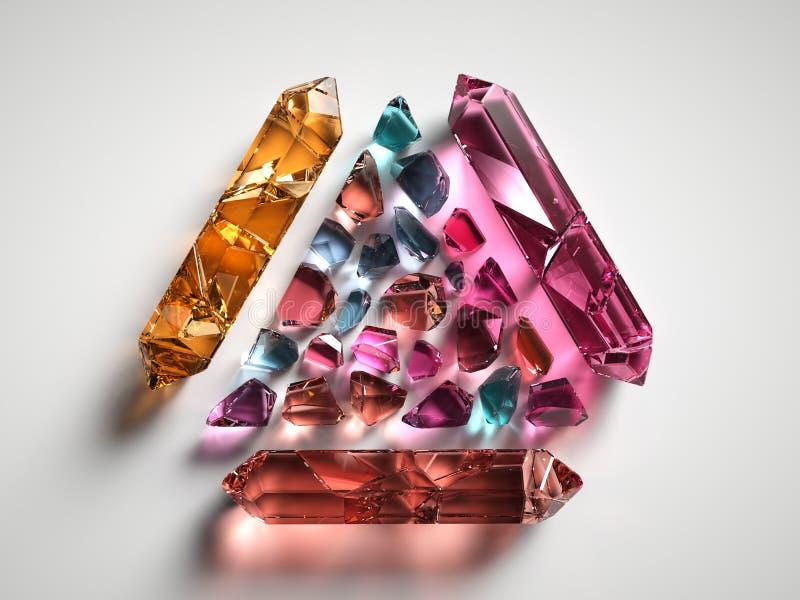 3d odpłacają się, dobierali, barwionych duchowych kryształy odizolowywających na białym tle, gemstones, lecznicza kwarc, bryłki ilustracji