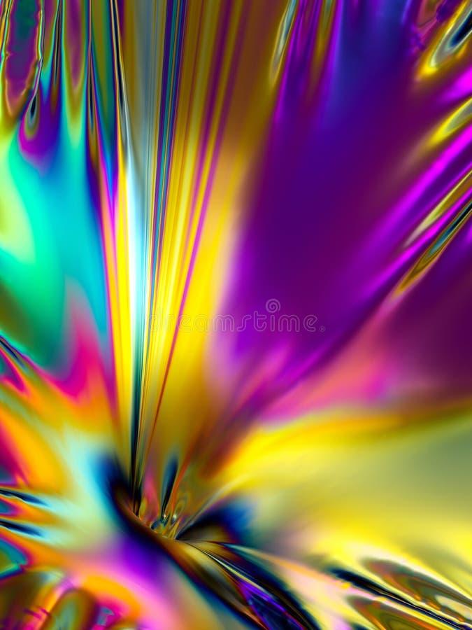 3d odpłacają się, holograficzna folia, abstrakcjonistyczny tęczy tło, wibrująca kruszcowa tekstura, mody powierzchnia, odbicie, t ilustracji