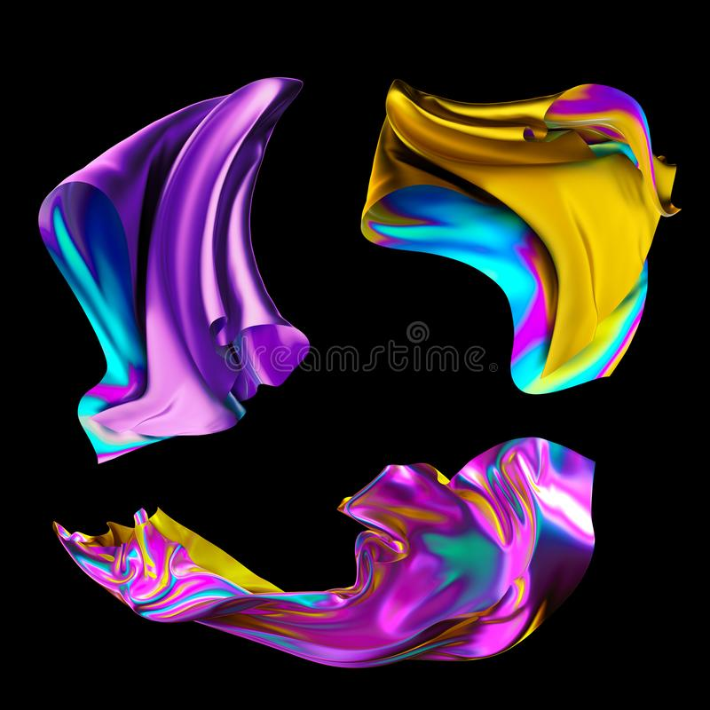 3d odpłacają się, iryzują, holograficzną folię, kruszcowy płótno, moda składająca tkanina, kolorowa tkanina, projektów elementy u ilustracja wektor