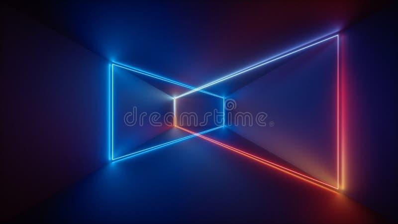 3d odpłacają się, laserowy przedstawienie, noc klubu wnętrza światła, błękitna czerwień jarzy się linie, abstrakcjonistyczny fluo ilustracji