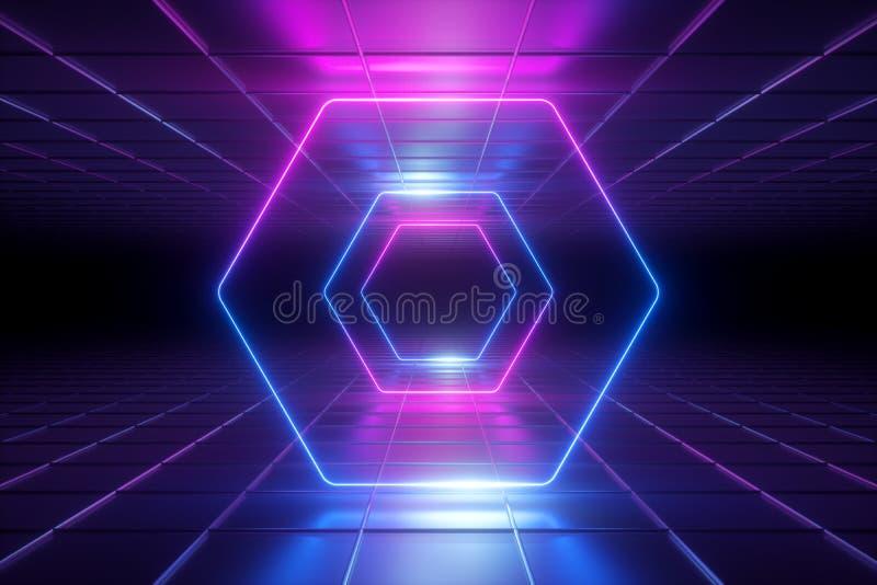 3d odpłacają się, pozafioletowy abstrakcjonistyczny tło, neonowy światło, sześciokąta tunel, korytarz, rama, heksagonalny kształt ilustracja wektor