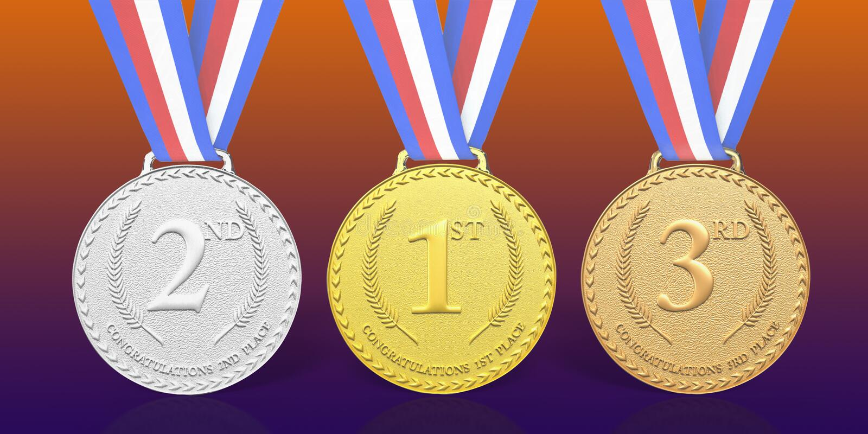 3D odpłacać się 1st, 2nd i 3rd miejsce medalu nagrody, ilustracja wektor