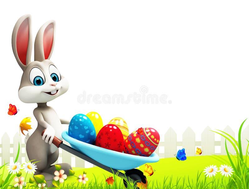 Szary Easter królik z jajko tramwajem