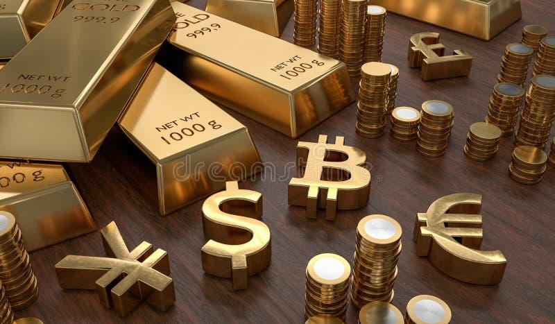 3D odpłacał się ilustrację złociści bary i złoci waluta symbole Giełdy Papierów Wartościowych i bankowości pojęcie ilustracja wektor