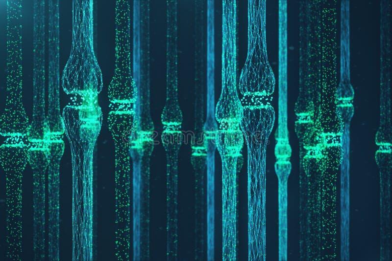 3D odpłaca się błękitnego rozjarzonego synapse Sztuczny neuron w pojęciu sztuczna inteligencja Synaptic przekaz linie ilustracji