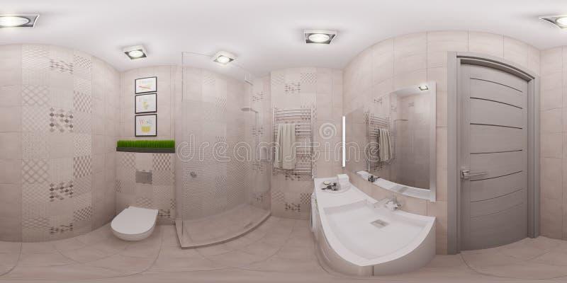 3d odpłaca się bezszwową panoramę łazienki wnętrze ilustracja wektor
