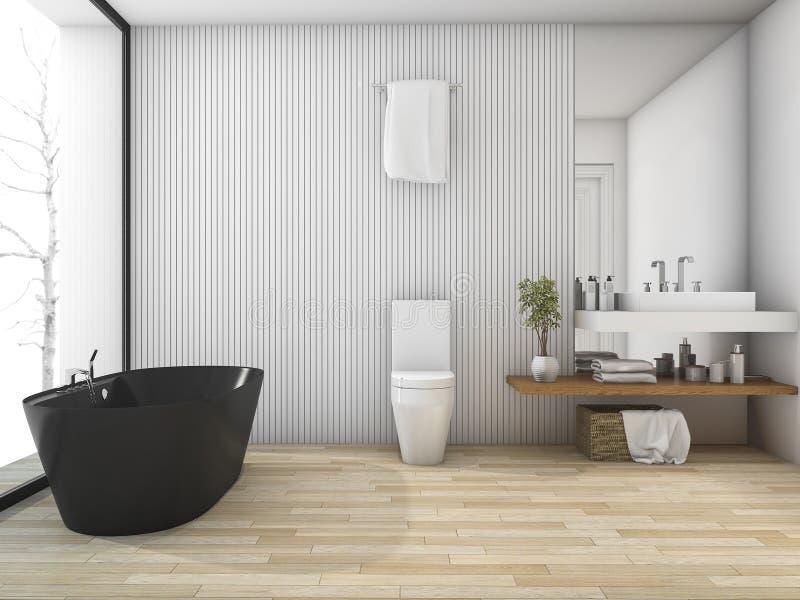 3d odpłaca się białą drewnianą łazienkę blisko okno w zimie ilustracji