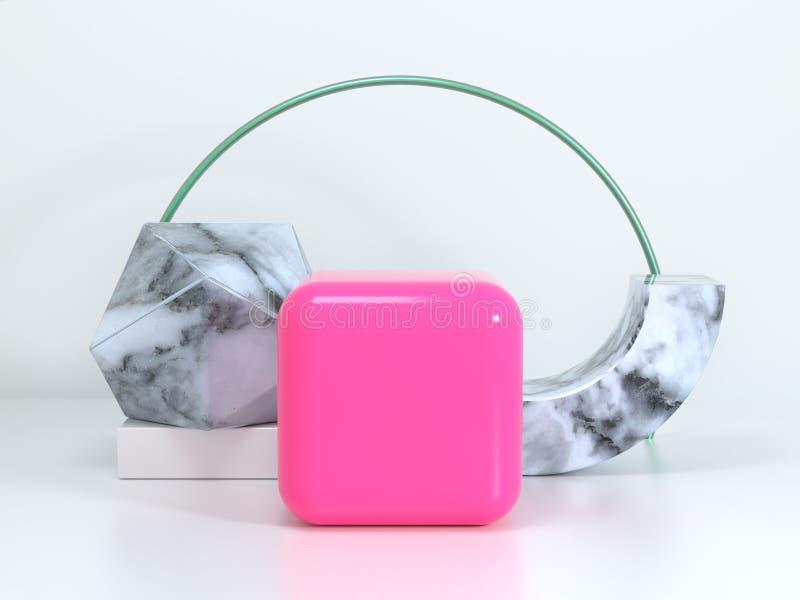 3d odpłaca się białą geometryczną scen menchii sześcianu kształta półkola zieleń kruszcowy koszowy kształt wykładają marmurem tek ilustracji