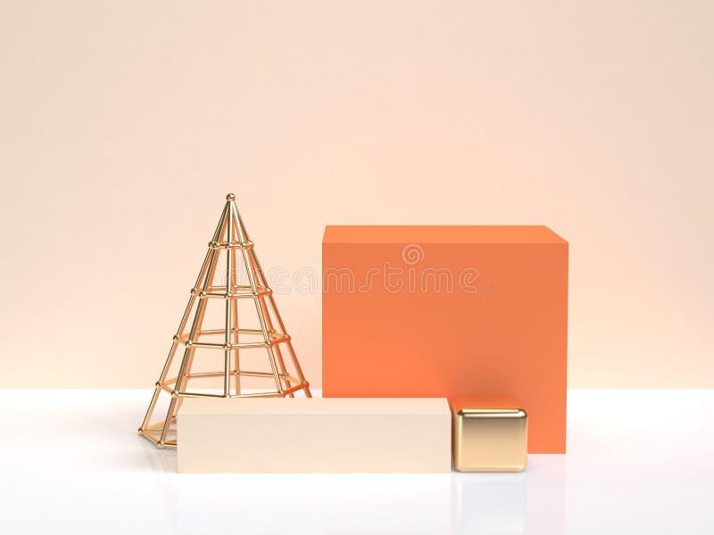 3d odpłaca się białą kremową scenę pomarańczowy złocisty geometryczny kształt tworzą abstrakcjonistycznego minimalnego styl ilustracji