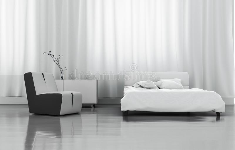3D Odpłaca się Białą sypialnię ilustracji
