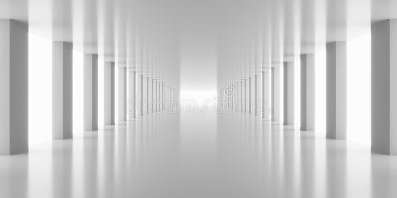 3d odpłaca się białego korytarzy filarów tło odpłacają się ilustracja wektor