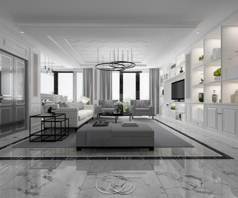 3d odpłaca się białego nowożytnego klasycznego żywego pokój z marmuru półka na książki i płytką ilustracja wektor