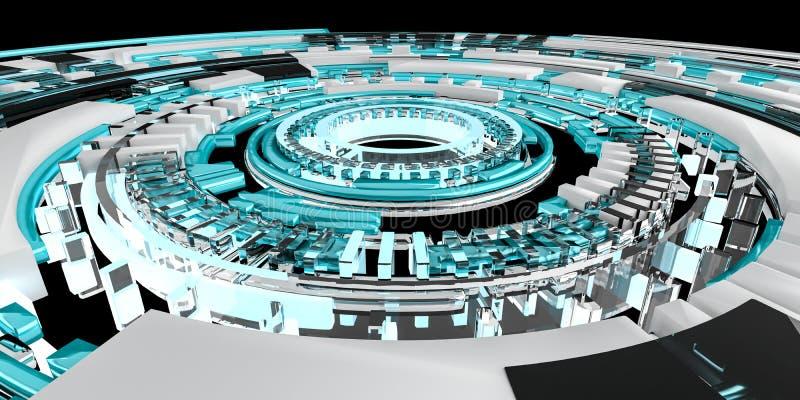 3D odpłaca się cyfrowego techniki błękita interfejs ilustracja wektor