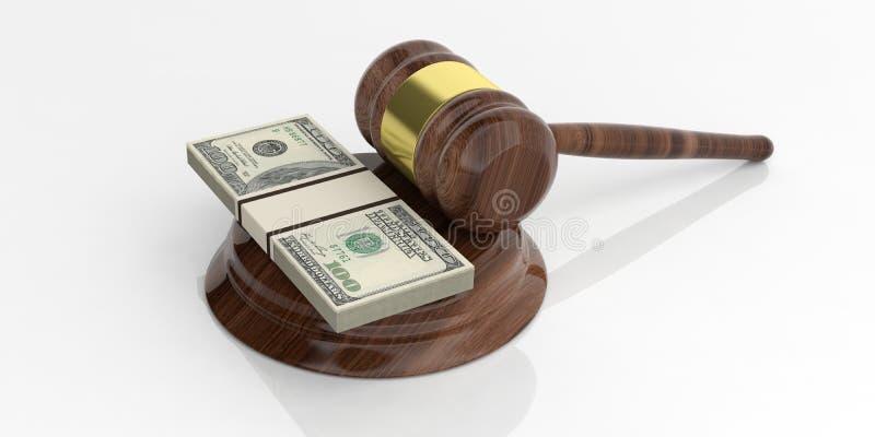 3d odpłaca się dolarowe banknot sterty i aukcyjnego młoteczek na białym tle royalty ilustracja