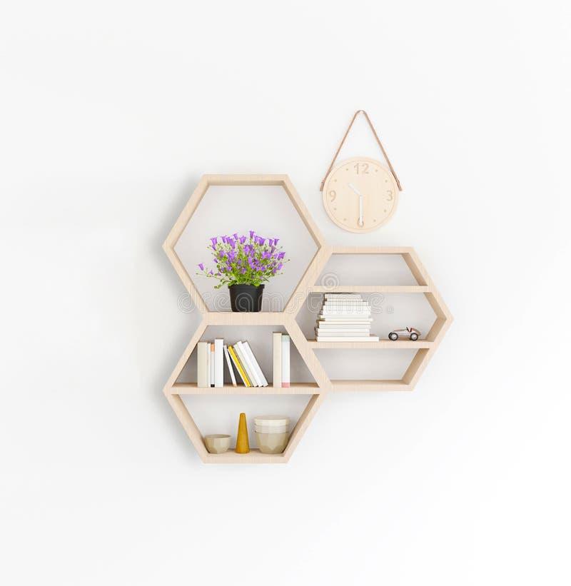 3d odpłaca się drewnianą półkę, Minimalny Japoński styl ilustracja wektor