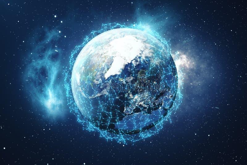 3D Odpłaca się Globalnej sieci tło Związek Wykłada z kropkami Wokoło Ziemskiej kuli ziemskiej Globalna Międzynarodowa łączliwość royalty ilustracja
