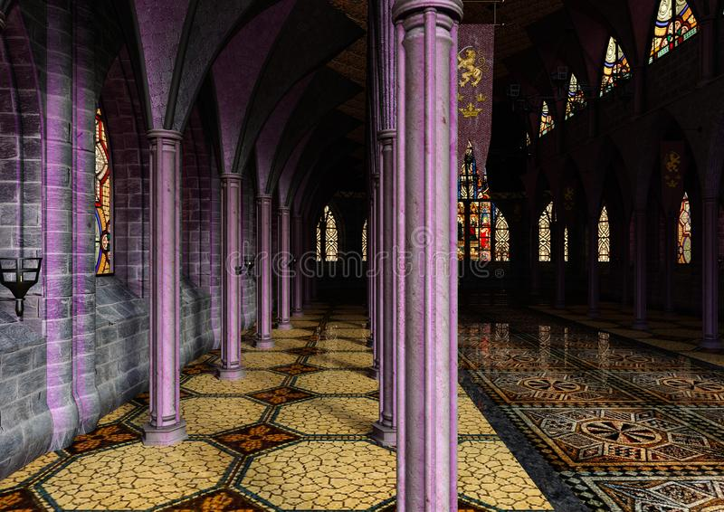 3D Odpłaca się Królewskiego Hall ilustracja wektor