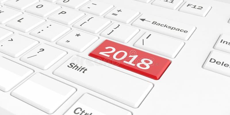 3d odpłaca się nowego roku 2018 na klawiaturze ilustracji