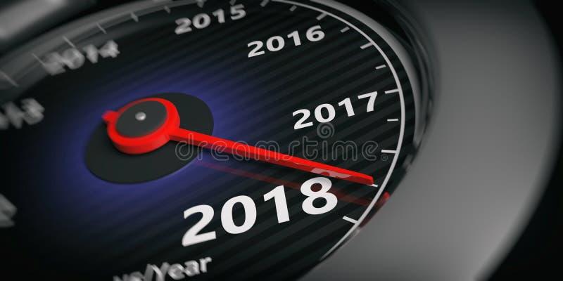 3d odpłaca się nowego roku 2018 samochodowych szybkościomierzy ilustracji