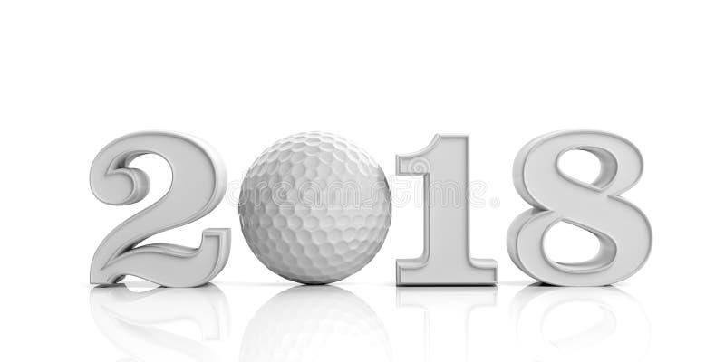 3d odpłaca się nowego roku 2018 z piłką golfową royalty ilustracja