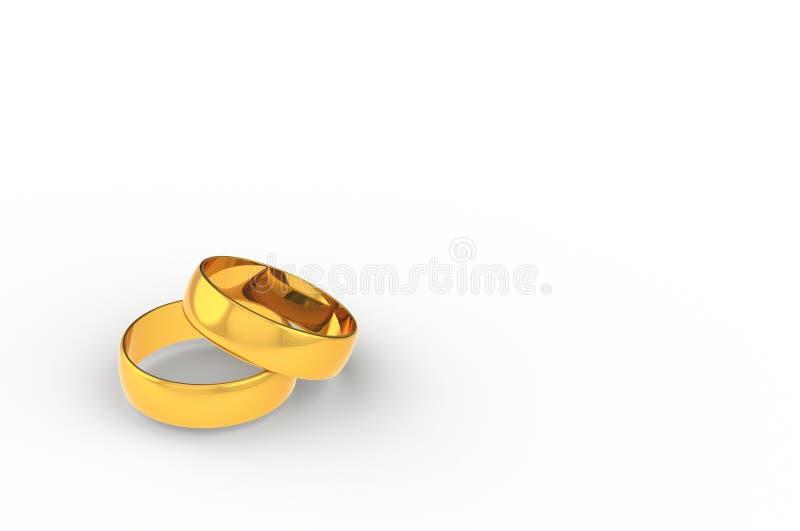 3D odpłaca się parę złoci pierścionki z białym tłem ilustracja wektor
