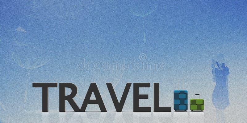 3d odpłaca się podróżną torbę z ładnego tła lekkim kolorem ilustracja wektor