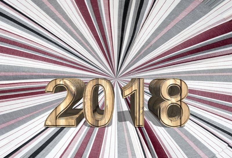 3d odpłaca się rok 2018 na Koncentrycznych lampasach biała tkanina obrazy stock