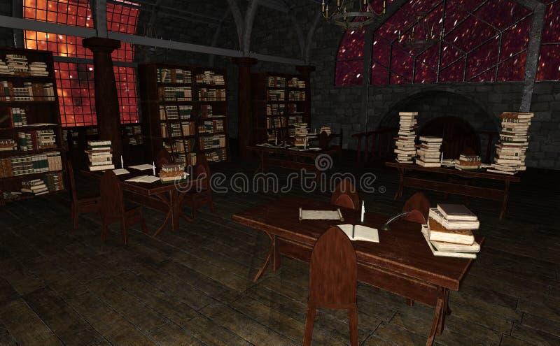 3D Odpłaca się Starej biblioteki royalty ilustracja