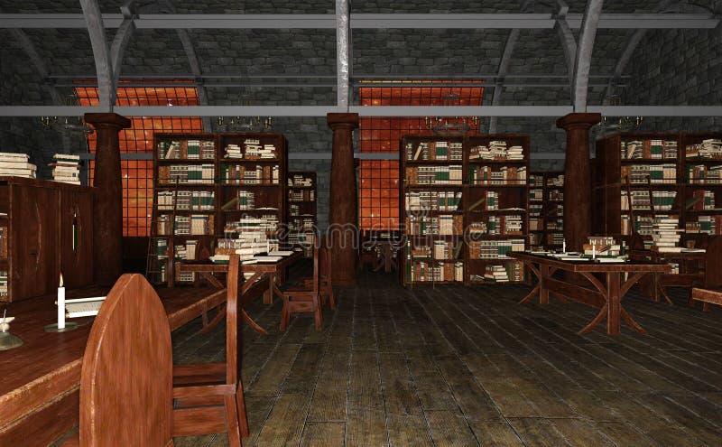 3D Odpłaca się Starej biblioteki ilustracja wektor