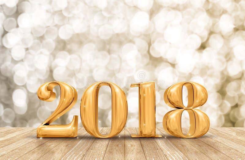 2018 3d odpłaca się złotą nowy rok liczbę w perspektywicznym izbowym dowcipie obrazy stock