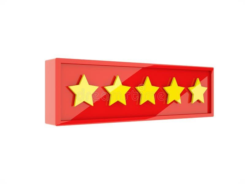 3d odpłaca się złote pięć gwiazd w czerwieni ramie ilustracja wektor