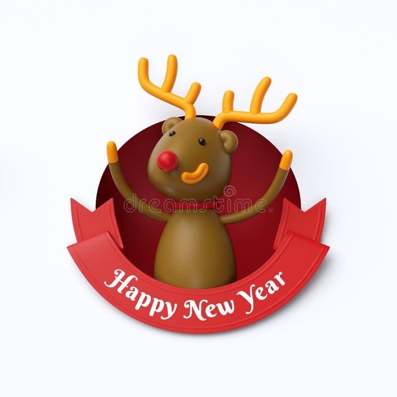 3d odpłacają się, śmieszna renifer zabawka wśrodku round dziury, Szczęśliwy nowy rok royalty ilustracja