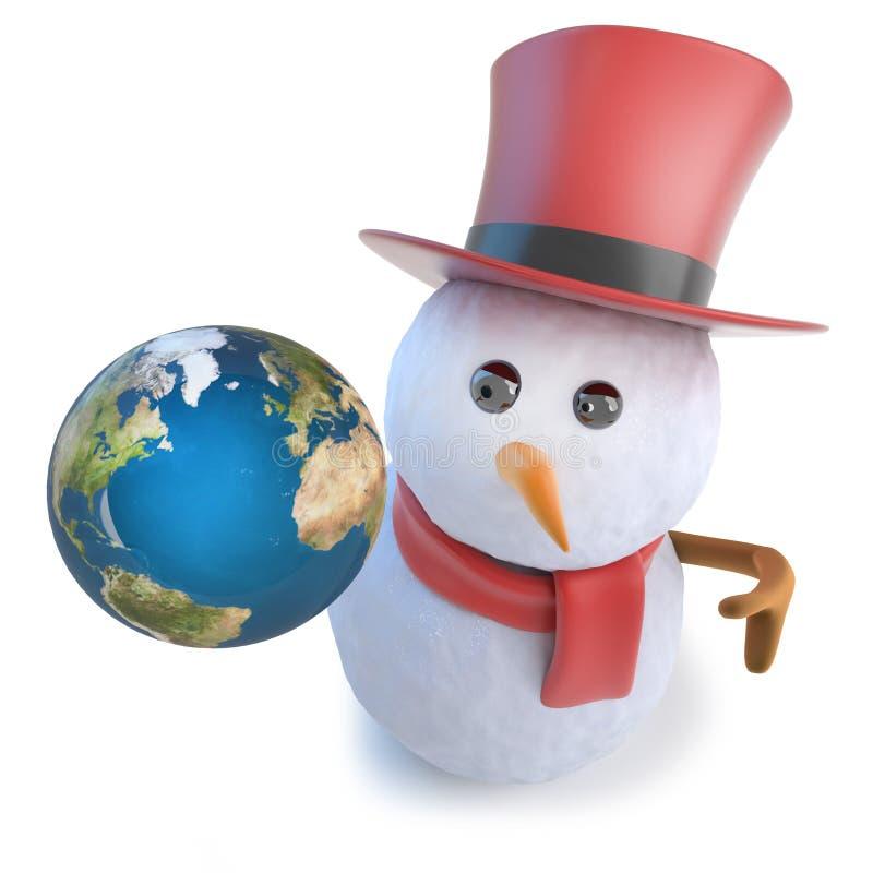 3d odpłacają się śmieszny kreskówka bałwan jest ubranym odgórnego kapelusz i trzyma kulę ziemską Ziemska planeta ilustracja wektor