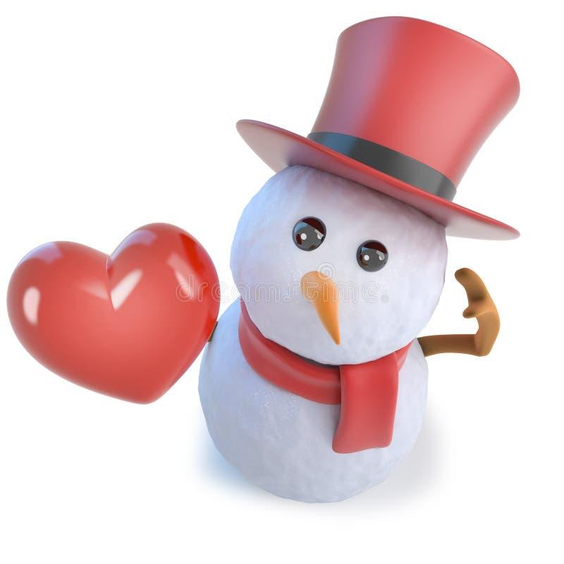 3d odpłacają się śmieszny kreskówka bałwan jest ubranym odgórnego kapelusz i trzyma romantycznego czerwonego serce miłość royalty ilustracja