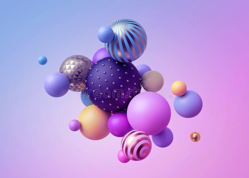 3d odpłacają się, abstrakcjonistyczne pastelowe piłki, menchii błękita balony, geometryczny tło, stubarwni praforma kształty, min ilustracji