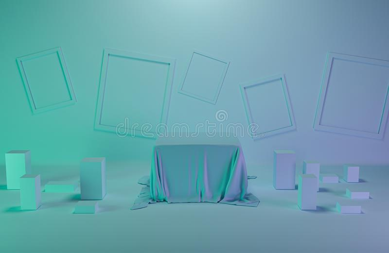 3d odpłacają się, abstrakcjonistyczny geometryczny tło, minimalistic praforma kształty, nowożytny egzamin próbny w górę, pusta ga royalty ilustracja