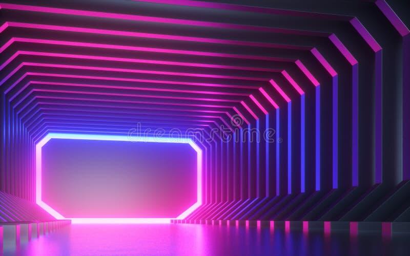 3d odpłacają się, abstrakcjonistyczny neonowy tło, korytarz, tunel, rzeczywistość wirtualna ekran, pozafioletowy widmo, laserowy  ilustracja wektor